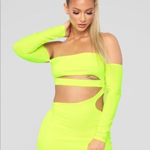 Fashion Nova Dresses - Neon yellow off shoulder dress